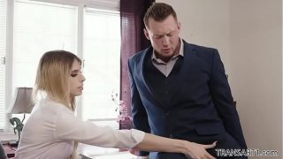 TS Casey Kisses takes a huge cock in her tight ass